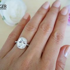 3 25 Carat Oval Halo Engagement Ring Vintage Inspired D Color Man Made Diamonds