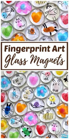 Invite children to use their fingertips and thumbs to make Fingerprint Art Glass Magnets. Thumbprint art glass magnets are an easy craft for kids and a simple homemade gift idea kids can make for Mother's Day, Father's Day, Birthdays and Christmas. #RhythmsofPlay #KidsCraft #KidsCraft #GiftIdea #HomemadeGift #MothersDayGift #FathersDayGift #DIYGiftIdea #MothersDayGiftIdea #HandmadeMothersDayGift #HandmadeGift