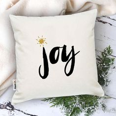 Joy pillow Christmas decoration for home Xmas cushion cover Winter throw pillows Gift for husband Bedroom interior Unique Xmas gift idea  One pillowcase or pillowcase + insert (your choice)  Pillow size is 16 x 16 inches (40 x 40 cm)  Great and unique Christmas gift idea for your
