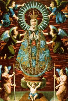 Celestial coronation with four supports and celestial coat. Art: Baroque painting of Our Lady of Lledó, Spain.