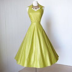 vintage 1950's dress beautiful CHARTREUSE & GOLD by traven7