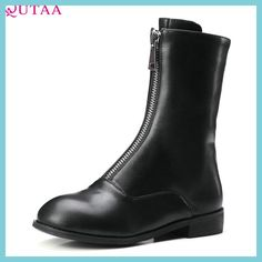 QUTAA 2018 Women Mid Calf Boots Pu Leather Square Mis Heel Zipper Round Toe All Match Fashion Women Motorcycle Boots Size 33-43