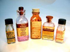5 bottles square rectangular clear amber by FreshRetroGallery, $19.00