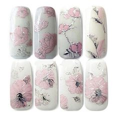 HOT FASHION 3D EMBOSSED PINK FLOWERS NAIL ART DECAL TIPS STICKERS SHEET MANICURE | eBay