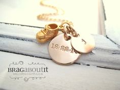 Baby Shoe Charm Necklace . Personalized Initial and Date Necklace by BragAboutIt