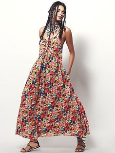 Free People Mulberry Dress 100% Rayon Full Length Floral Print Combo Maxi XS  #FreePeople #Maxi #Versatile