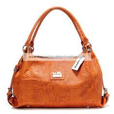 Coach Scale Leather Charm Hailey Bag Orange