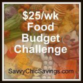 $25/week food budget challenge.  Includes food budget resources, meal plans, printable menu plan worksheets, and more.