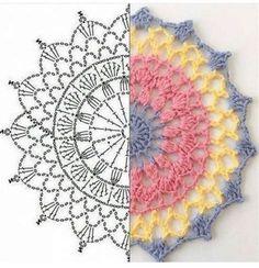 Motif Mandala Crochet, Crochet Circles, Crochet Doily Patterns, Crochet Squares, Crochet Designs, Crochet Doilies, Crochet Flowers, Crochet Doily Diagram, Crochet Tablecloth