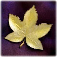 Denmark Yellow Enamel Silver Leaf Pin - By Brd.B offered at Ruby Lane by 2Hearts Uptown Jewelry & Accessories