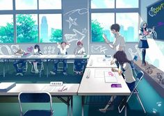 Image discovered by Find images and videos about pink, anime and manga on We Heart It - the app to get lost in what you love. Aesthetic Japan, Aesthetic Anime, Anime Art Girl, Anime Guys, Manga Boy, Manga Anime, Anime Classroom, Anime Uniform, Anime Places