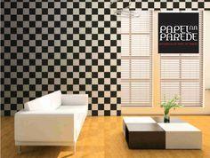Papel de parede para sala Papel de parede quadriculado é um clássico desde sempre!