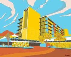 Mid-Century Modern Illustration of the Valley Ho Hotel in Phoenix , AZ Modern Buildings, Modern Architecture, Mid Century Design, Midcentury Modern, Pop Art, 1950s Style, Hollywood Celebrities, Hospitality, Adobe Illustrator