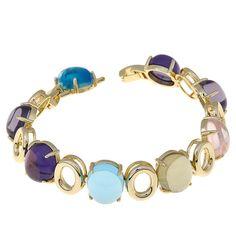 "Roberto by RFM ""Classico"" Multicolor Stone Goldtone Station 6-3/4"" Bracelet"