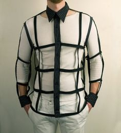 Mens Button Down Cage Shirt in Black Urban Cyber by PopLoveHis He would never wear this. No one should ever wear this. Looks Pinterest, High Fashion, Mens Fashion, Creation Couture, Look Cool, Stylish Outfits, Stylish Clothes, Tartan, Menswear