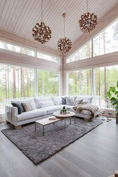 Honka log homes provide a cozy and warm living environment with natural building materials, high indoor air quality and a stress-reducing atmosphere. Natural Building, Home Technology, Wooden House, Indoor Air Quality, Bay Window, House In The Woods, Log Homes, House Plans, Living Room