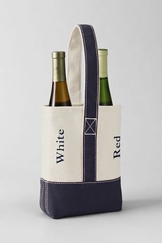 "Double Canvas Wine Tote from Lands' End -- how about monagramming it with ""Booze"" ""Bag"""