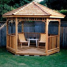 Garden & Landscaping: Rustic Wooden Fence Background Near Corner Gazebo Plus White Table Between Striped Armchairs, Homeyapt