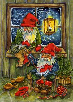 ˇˇ Vintage Christmas Cards, Vintage Cards, Elf Art, Elves And Fairies, Christmas Gnome, Country Art, Almost Always, Goblin, Gnomes