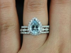 Tabitha Medio & Christie 14kt White Gold Pear Aquamarine and Diamonds Halo TRIO Wedding Set (Other metals and stone options available)