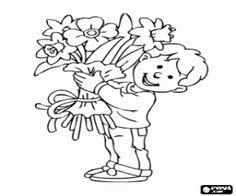kolorowanka Dziecko z prezentem dla jego matki, du�y bukiet kwiat�w