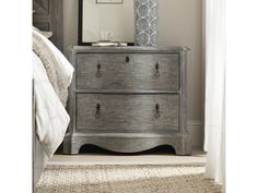 Beaumont Two-Drawer Nightstand with Outlet and Touch Nightlight by Hooker Furniture at Olinde's Furniture Grey Bedroom Set, Hooker Furniture, Dresser As Nightstand, Night Light, Drawers, Touch, Table, Home Decor, Homemade Home Decor
