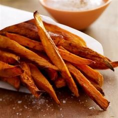 A healthier alternative to regular fries on Game Day, serve with a creamy dip made with sour cream, honey and cinnamon.