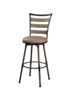 """Hillsdale Thornhill 30"""" Swivel Bar Stool in Pewter / Black Rub by Hillsdale. $159.00. Assembly Required Some assembly required. Length 17D. Three step rubbed black/pewter finish on the metal. Width 16W. Wood ladder back accent in distressed washed ash finish. The Thornhill swivel stool features a three step rubbed black/pewter finish on the metal. It boasts a wood ladder back accent in distressed washed ash finish and a putty hued vinyl seat. A chic rustic look mak..."""