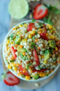 Strawberry Avocado Couscous Salad with Lime Vinaigrette - With a refreshing vinaigrette and fresh produce, this makes for a perfect salad! Easy Pasta Salad Recipe, Pasta Recipes, Cooking Recipes, Healthy Recipes, Dishes Recipes, Detox Recipes, Recipies, Pasta Dishes, Food Dishes