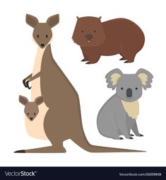 Australia wild animals cartoon popular nature vector image on VectorStock Wild Animals Drawing, Animal Drawings, Baby Applique, Applique Patterns, Zoo Project, Jungle Illustration, Nature Vector, Australian Animals, Animal Posters