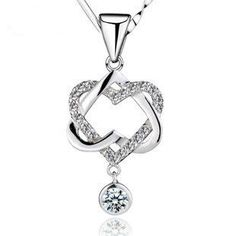 silv 925 sterling silver double heart necklaces & pendants silver pendants girl friend gift
