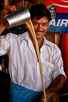The long pour is part of preparing Indian tea so that it is just right! Chennai, Tea Culture, South India, India India, Tea Ceremony, Incredible India, Amazing, India Travel, Drinking Tea