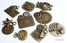 Budgetpack Mezcla, colgantes/dijes de metal, reloj/steampunk ± 38x30mm-49x43mm