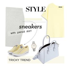 """""""tricky trend pencil skirts and sneakers"""" by maria-maldonado ❤ liked on Polyvore featuring MANGO, Topshop, Givenchy, TrickyTrend, sneakers and pencilskirt"""