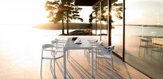 Illum chair and table outdoor with a Scandinavian design twist and aluminium powder coated soft forms