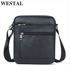 Top Offers $16.62, Buy WESTAL Genuine Leather Men Bag Male Messenger Bag Men Leather Shoulder Bags Small Ipad Holder Flap 2017 New Men's Crossbody Bags