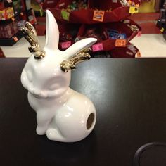 Lookie! It's a cute ceramic Jackalope! Fill it with cotton and pull it out of it's hindquarters!