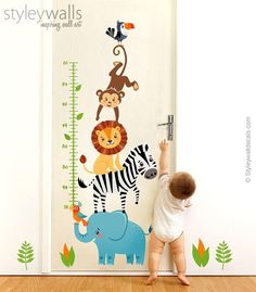 This Jungle Animals Wall Decal Jungle Animals Growth Chart Safari is just one of the custom, handmade pieces you'll find in our wall decals & murals shops. Kids Wall Decor, Room Wall Decor, Baby Room Decor, Zebra Kids, Animal Wall Decals, Teepee Kids, Teepee Tent, Jungle Animals, Woodland Animals