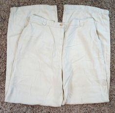Tommy Bahama Silk Flat Front Beige Womens Pants Size 6 (Q19#559) #TommyBahama #DressPants
