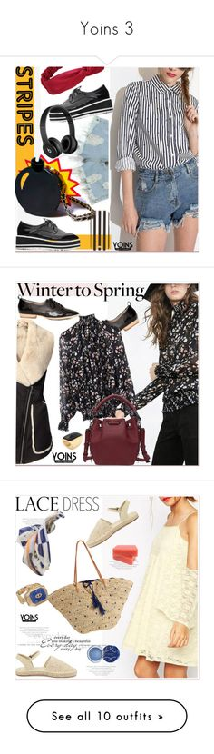 """""""Yoins 3"""" by paculi ❤ liked on Polyvore featuring outfit, chic, fab, yoins, Nila Anthony, Beats by Dr. Dre, Henri Bendel, stripes, vintertospring and Flora Bella"""