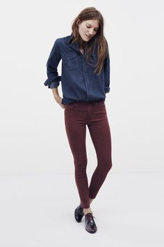 Madewell Fall 2014 Denim: Make it CAbi with Bordeaux Skinny Jeans and McQueen Shirt! Mode Outfits, Casual Outfits, Fashion Outfits, Estilo Boyish, Estilo Tomboy, Fall Winter Outfits, Winter Fashion, Business Outfit Frau, Look Jean