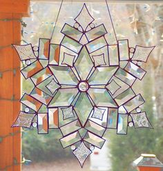 Stained Glass Star / Snowflake - The Stars of Today 2 Suncatcher by GlassbrookDesigns Stained Glass Designs, Stained Glass Projects, Stained Glass Patterns, Stained Glass Art, Stained Glass Windows, Mosaic Art, Mosaic Glass, Fused Glass, Stained Glass Christmas