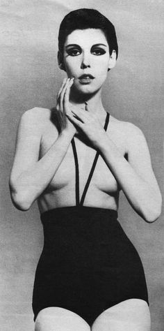 The Monokini  a Topless Bathing Suit introduced by Rudi Gernreich in 1964. A lot of styles during this time period used cut outs in garments, though not this extreme