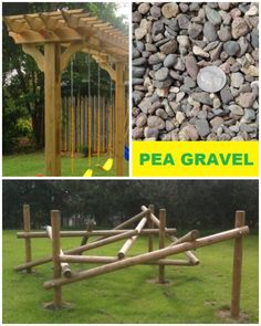 Kids play area in backyard. Maybe add a large boulder to climb on too?