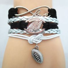 Infinity Love Philadelphia Eagles Football - Show off your teams colors! Cutest Love Philadelphia Eagles Bracelet on the Planet! Don't miss our Special Sales Event. Many teams available. www.DilyDalee.co