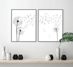 Dandelion wall art print, Set of dandelion prints, dandelion poster, Scandinavian black white, minimalist wall decor. Framed Wall Art, Wall Art Prints, Wall Mural, Dandelion Wall Art, Cool Wall Decor, Or Mat, Home Decor Signs, Black Decor, Cool Walls