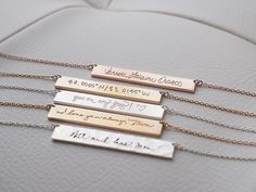Actual Handwriting Bar Necklace - Loved One's Handwriting - Mother Father Memorial Necklace - Meaningful Wedding Gifts - PN10.40 by GracePersonalized on Etsy https://www.etsy.com/listing/242694497/actual-handwriting-bar-necklace-loved