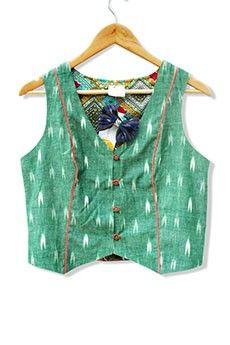Ikat Waistcoat With Printed Lining