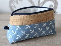 Schminktasche, Federmäppchen Baumwolle/Korkleder Diy Accessoires, Cork Fabric, Dopp Kit, Sewing Leather, Pouch, Wallet, Leather Projects, Diy Box, Diy Design