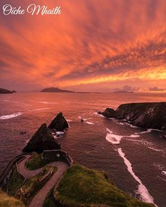 Good Night From Ireland  This spectacular blood red sky was pictured by @oozzgguunn over the pier at Dunquinn. Amazing isn't it?